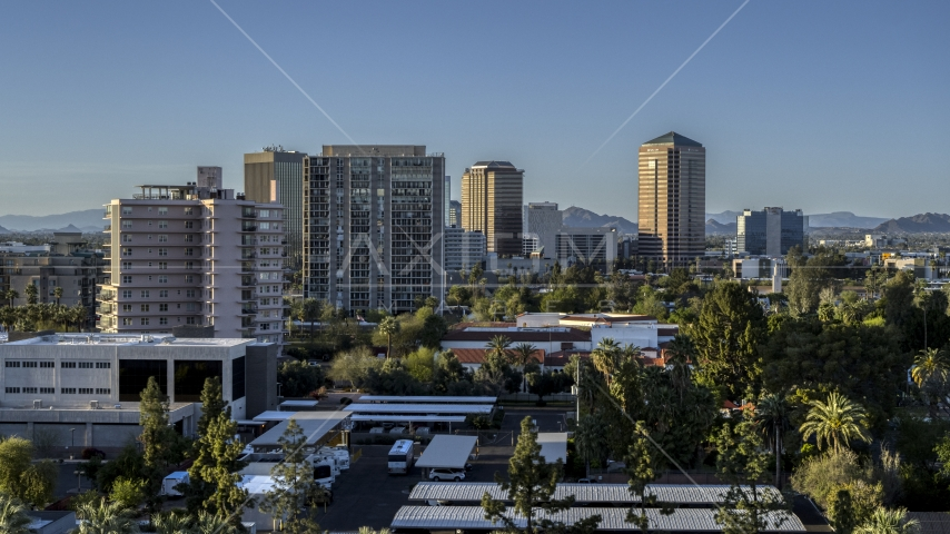 A group of high-rise apartment and office buildings in Phoenix, Arizona Aerial Stock Photos | DXP002_138_0008
