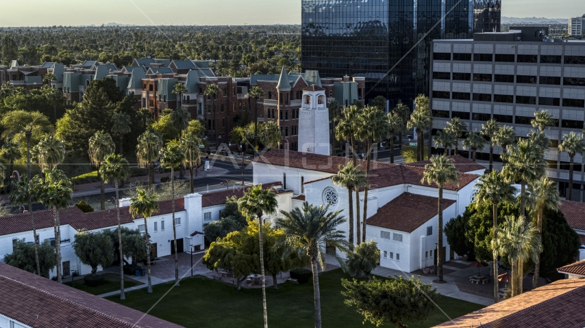Palm trees and a church steeple in Phoenix, Arizona Aerial Stock Photos | DXP002_138_0010