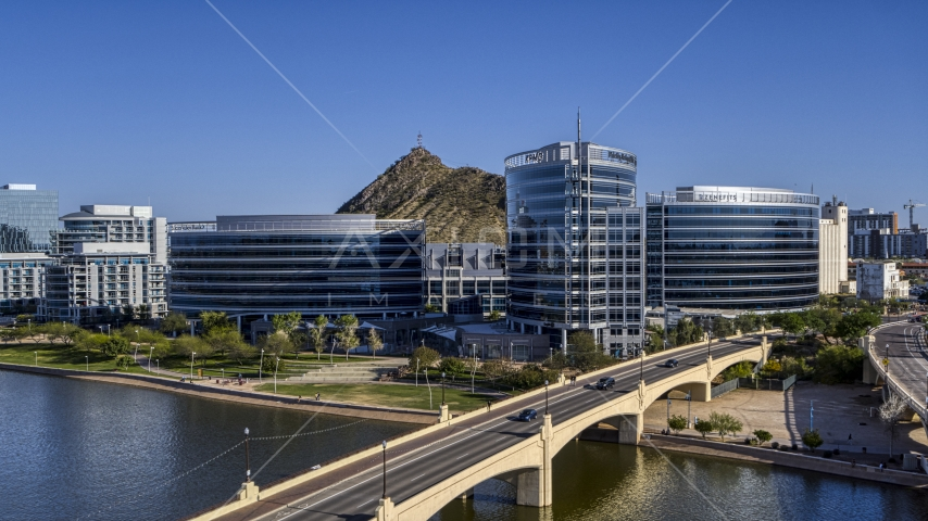 Modern office buildings seen from a bridge in Tempe, Arizona Aerial Stock Photos | DXP002_142_0001