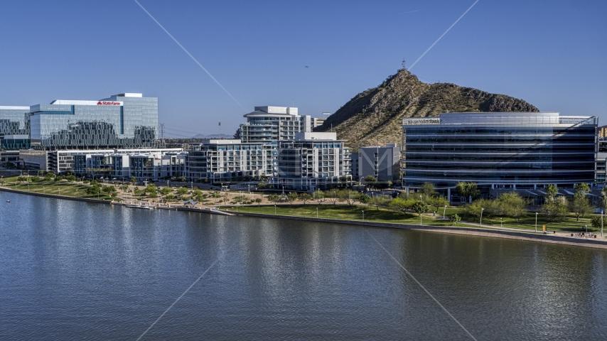 A condominium complex by the reservoir in Tempe, Arizona Aerial Stock Photos | DXP002_142_0004