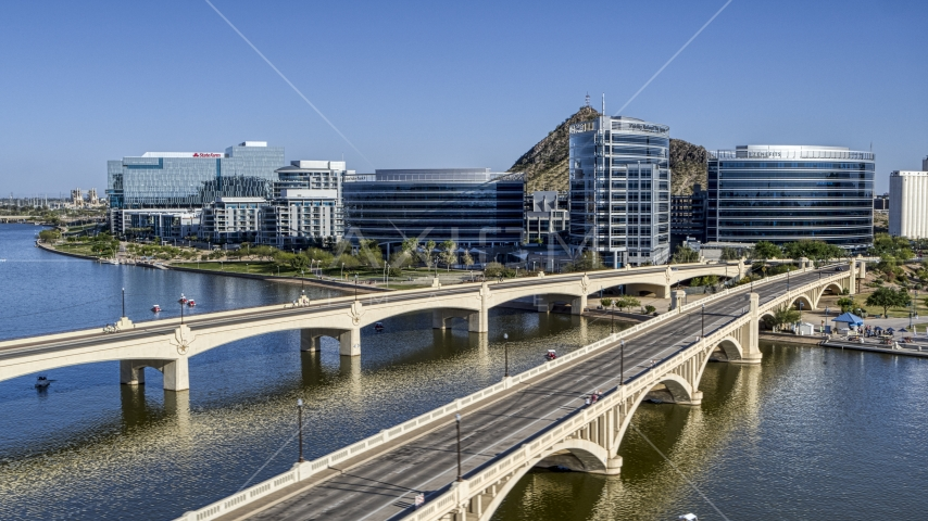 Bridges leading to waterfront office buildings in Tempe, Arizona Aerial Stock Photo DXP002_142_0005 | Axiom Images