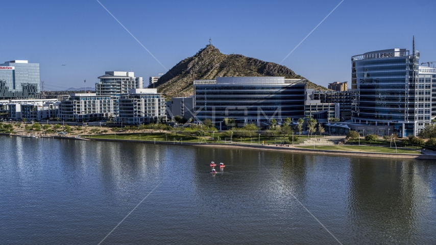 A riverfront condominium complex and modern office buildings in Tempe, Arizona Aerial Stock Photos | DXP002_142_0007