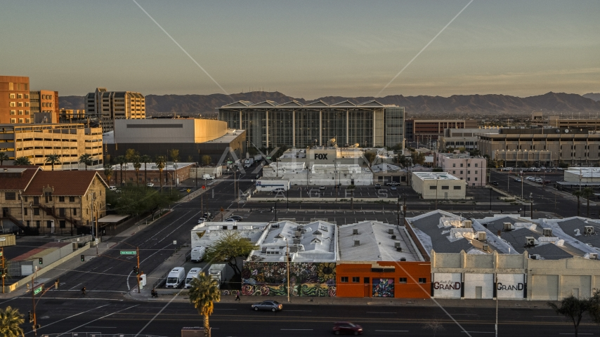 A performing arts theater, federal courthouse and TV station at sunset, Downtown Phoenix, Arizona Aerial Stock Photos | DXP002_143_0008