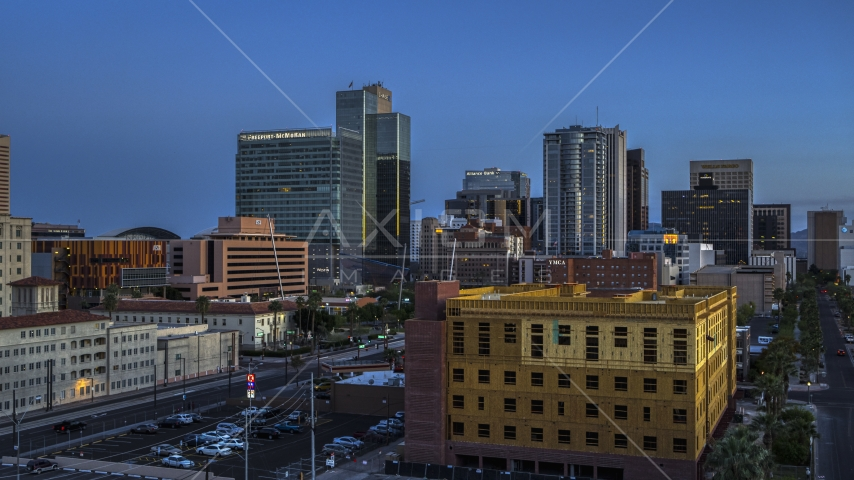 High-rise office buildings at twilight, Downtown Phoenix, Arizona Aerial Stock Photos | DXP002_143_0009