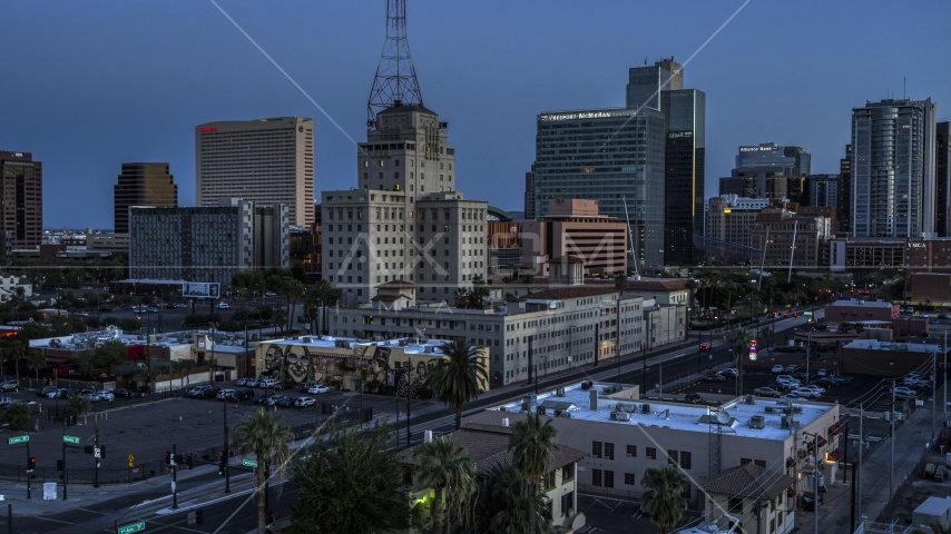 Westward Ho building and office towers at twilight, Downtown Phoenix, Arizona Aerial Stock Photos | DXP002_143_0010