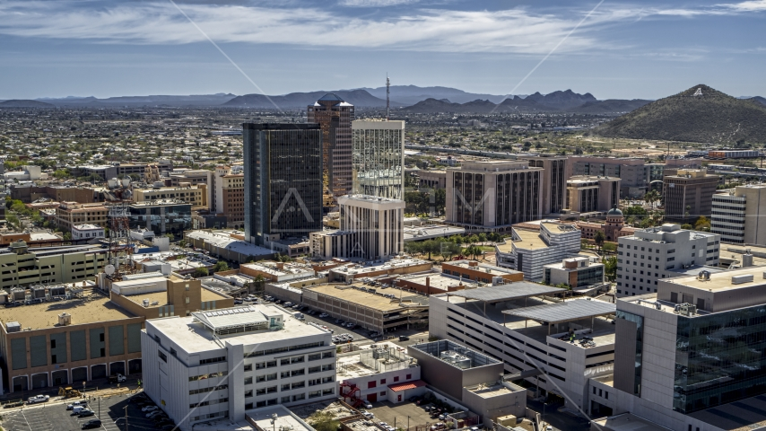 Office high-rises and Sentinel Peak, Downtown Tucson, Arizona Aerial Stock Photo DXP002_144_0001 | Axiom Images