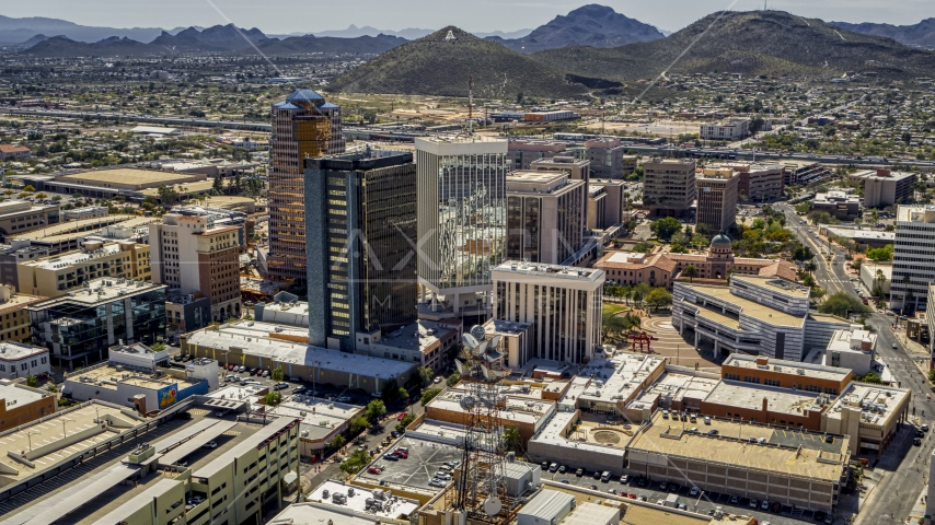 Three downtown office high-rises with Sentinel Peak in the distance, Downtown Tucson, Arizona Aerial Stock Photos | DXP002_144_0002