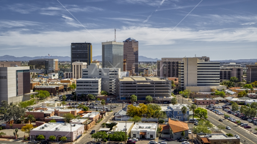A view of a group of tall high-rise office buildings, Downtown Tucson, Arizona Aerial Stock Photo DXP002_144_0003 | Axiom Images