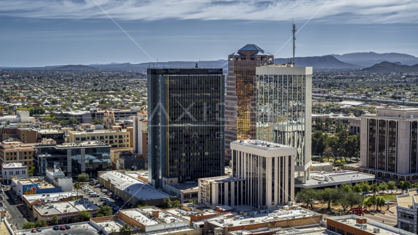 Three tall office high-rises in Downtown Tucson, Arizona Aerial Stock Photos | DXP002_144_0004
