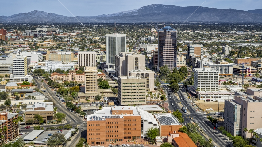 High-rise office towers and city buildings in Downtown Tucson, Arizona Aerial Stock Photos | DXP002_144_0006