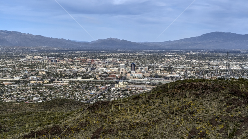 The city of Tucson seen from Sentinel Peak, Arizona Aerial Stock Photos | DXP002_145_0002