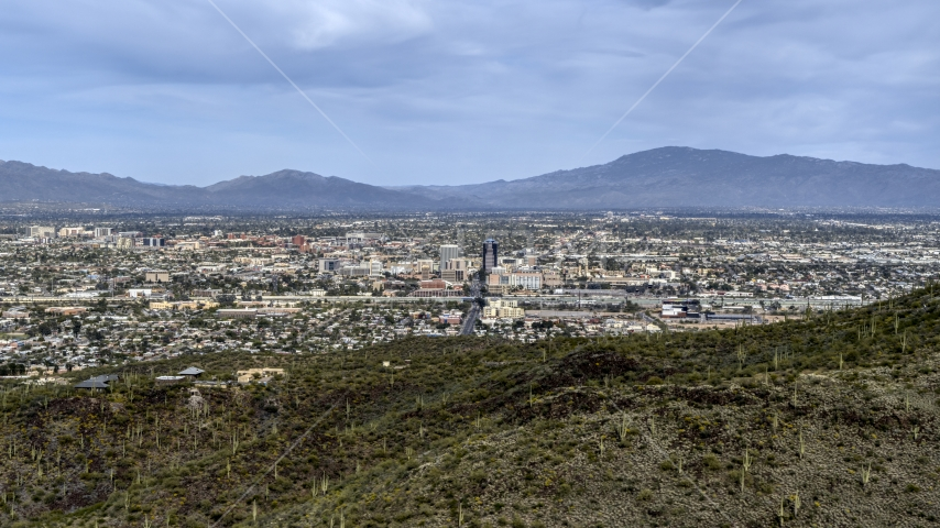 A view of the city of Tucson seen from Sentinel Peak, Arizona Aerial Stock Photos | DXP002_145_0003