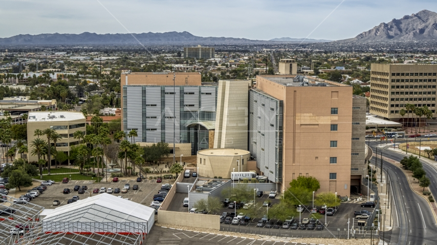 A district court building in Downtown Tucson, Arizona Aerial Stock Photo DXP002_145_0008 | Axiom Images