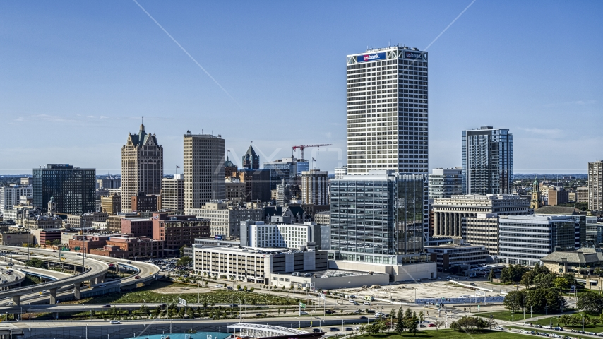 Tall city buildings and a skyscraper in Downtown Milwaukee, Wisconsin Aerial Stock Photos | DXP002_149_0002