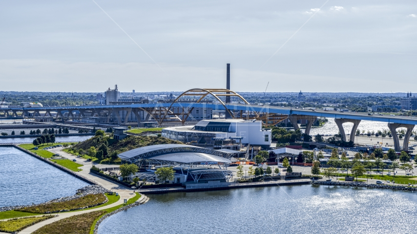 Waterfront concert venues in Downtown Milwaukee, Wisconsin Aerial Stock Photos | DXP002_149_0003