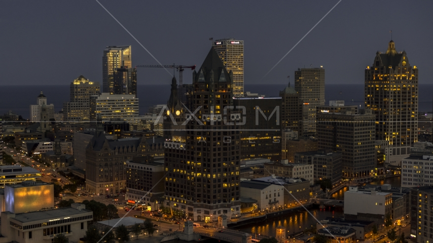 A riverfront office tower at night, Downtown Milwaukee, Wisconsin Aerial Stock Photos | DXP002_151_0001