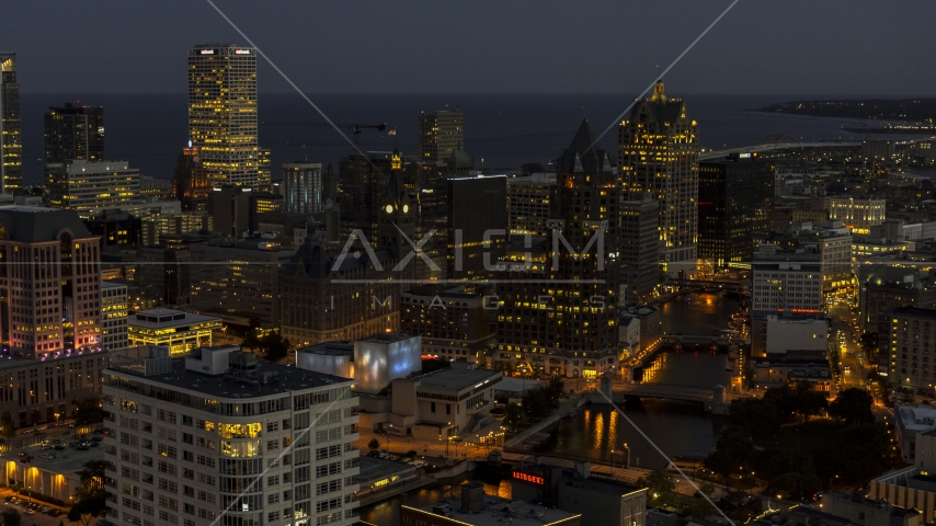 A view of skyscrapers at night, Downtown Milwaukee, Wisconsin Aerial Stock Photos | DXP002_151_0002