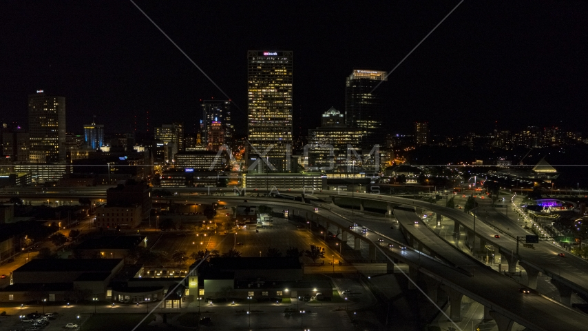 A view of downtown buildings and skyscrapers at night, Downtown Milwaukee, Wisconsin Aerial Stock Photos | DXP002_151_0004