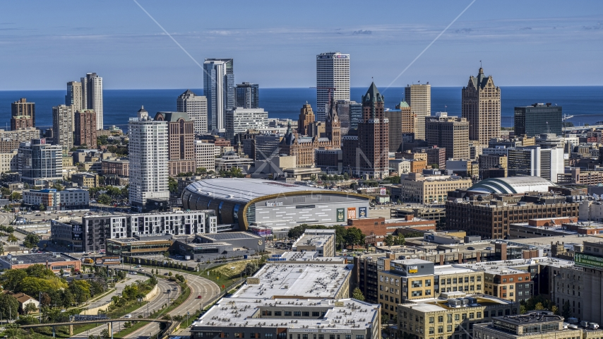 The city's skyline in Downtown Milwaukee, Wisconsin, seen from industrial buildings Aerial Stock Photos | DXP002_152_0001