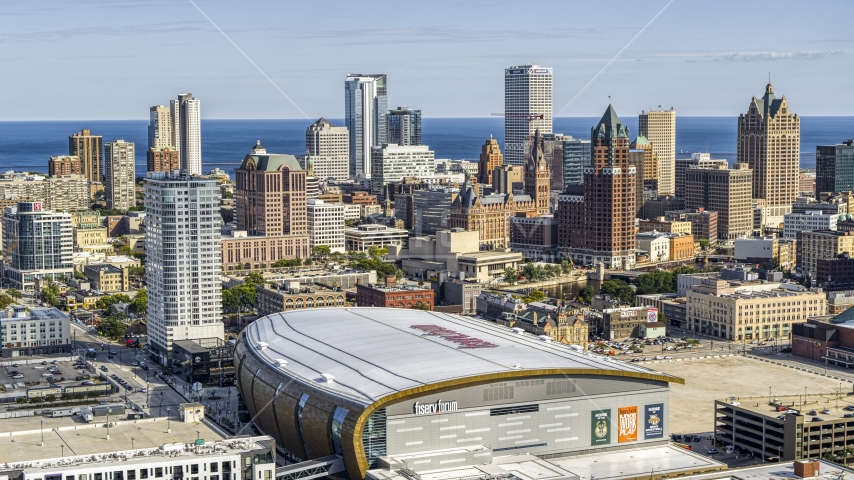 The city's skyline seen from the arena in Downtown Milwaukee, Wisconsin Aerial Stock Photos | DXP002_152_0004
