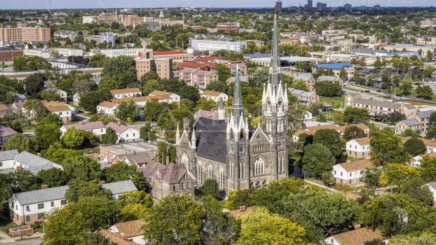 A church with tall steeples in Milwaukee, Wisconsin Aerial Stock Photo DXP002_152_0005 | Axiom Images