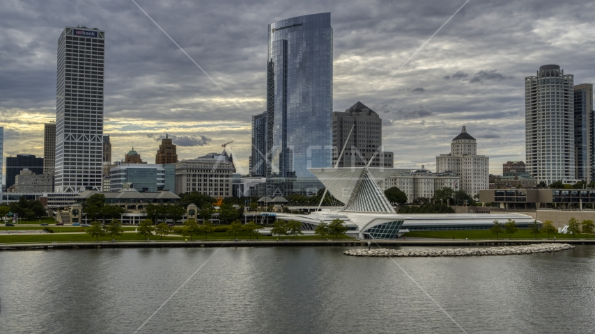 Skyscrapers and art museum by Lake Michigan in Downtown Milwaukee, Wisconsin Aerial Stock Photos | DXP002_154_0003