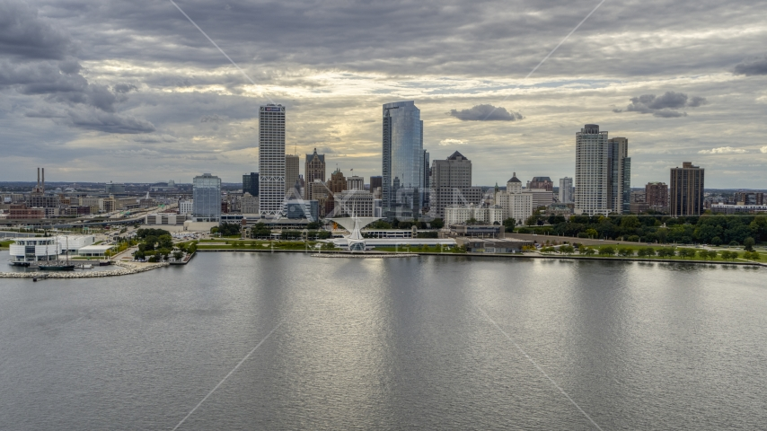 The city's lakefront skyline seen from Lake Michigan in Downtown Milwaukee, Wisconsin Aerial Stock Photo DXP002_154_0004 | Axiom Images