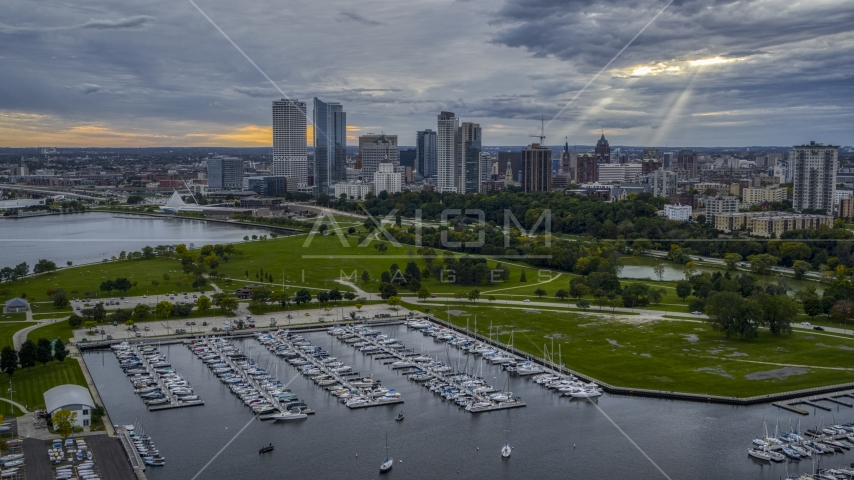 Veterans Park and skyline of Downtown Milwaukee, Wisconsin Aerial Stock Photos | DXP002_154_0006