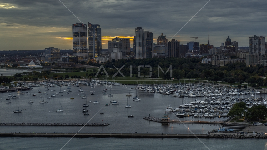Marina and the city's skyline at twilight, Downtown Milwaukee, Wisconsin Aerial Stock Photos | DXP002_155_0003