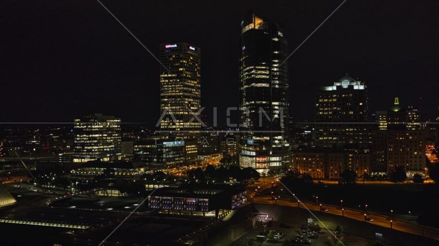 Tall skyscrapers at night, Downtown Milwaukee, Wisconsin Aerial Stock Photos | DXP002_157_0001