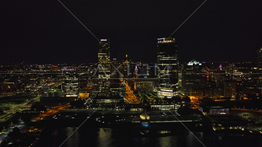 A view of tall skyscrapers at night, Downtown Milwaukee, Wisconsin Aerial Stock Photos | DXP002_157_0002