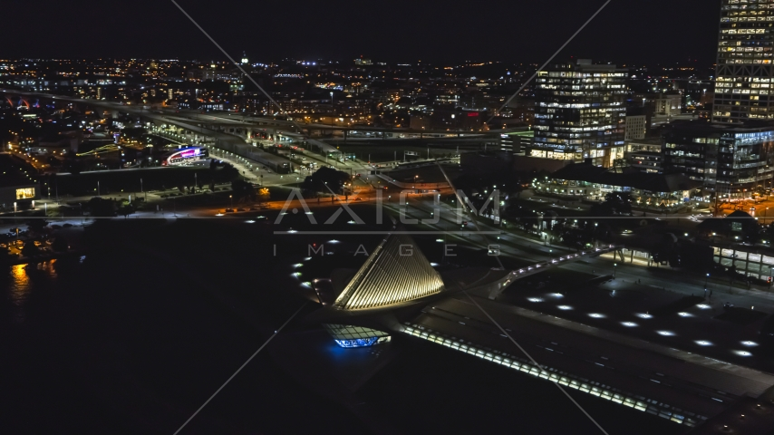The lakefront museum rooftop at night, Downtown Milwaukee, Wisconsin Aerial Stock Photos | DXP002_157_0006