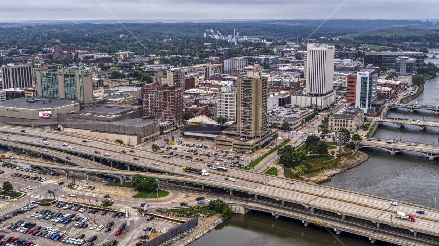 The convention center, city buildings near river, Downtown Cedar Rapids, Iowa Aerial Stock Photos | DXP002_164_0004