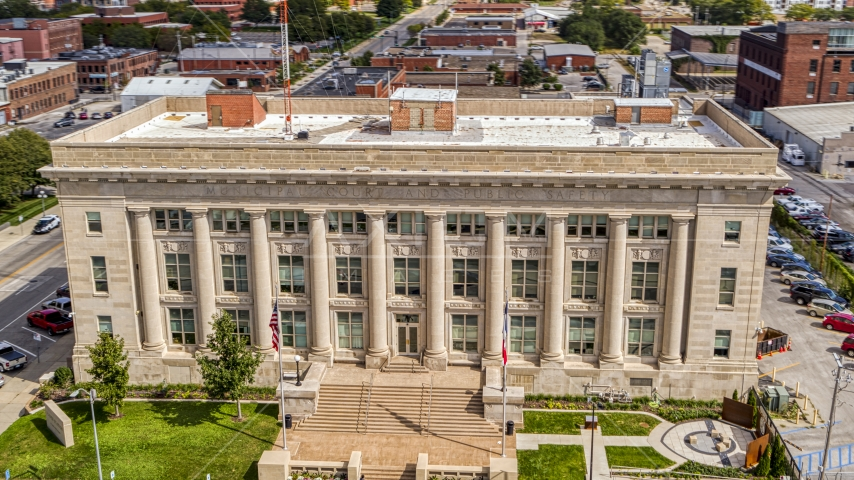 The front steps of Des Moines Police Department building in Des Moines, Iowa Aerial Stock Photos   DXP002_165_0004