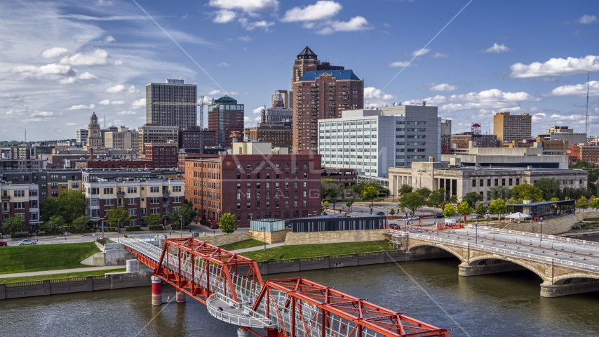 A view of government offices and skyline from bridges over the river, Downtown Des Moines, Iowa Aerial Stock Photos | DXP002_165_0009