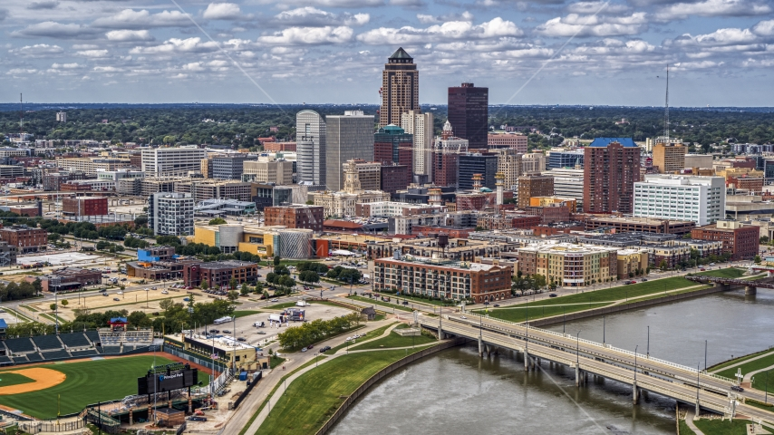The city's skyline seen from the Cedar River, Downtown Des Moines, Iowa Aerial Stock Photos | DXP002_165_0013
