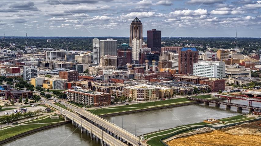 The city's skyline and bridges over the river, Downtown Des Moines, Iowa Aerial Stock Photos | DXP002_165_0015