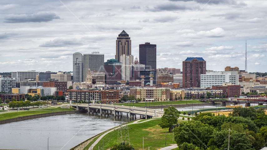 The city's downtown skyline and Cedar River, Downtown Des Moines, Iowa Aerial Stock Photos | DXP002_165_0017