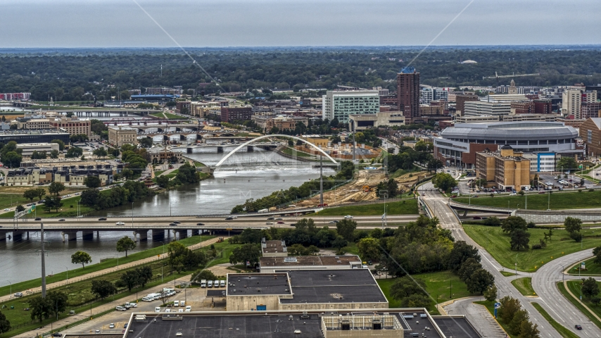 Bridges over Cedar River by the arena in Downtown Des Moines, Iowa Aerial Stock Photo DXP002_167_0003 | Axiom Images