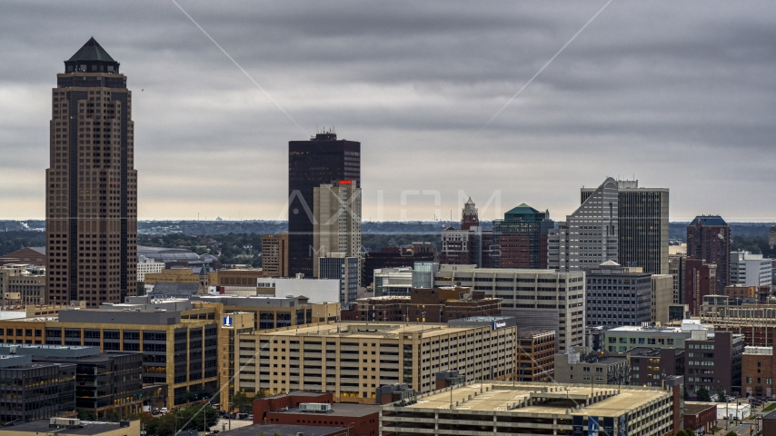 Skyscraper and office buildings in Downtown Des Moines, Iowa Aerial Stock Photos | DXP002_167_0005