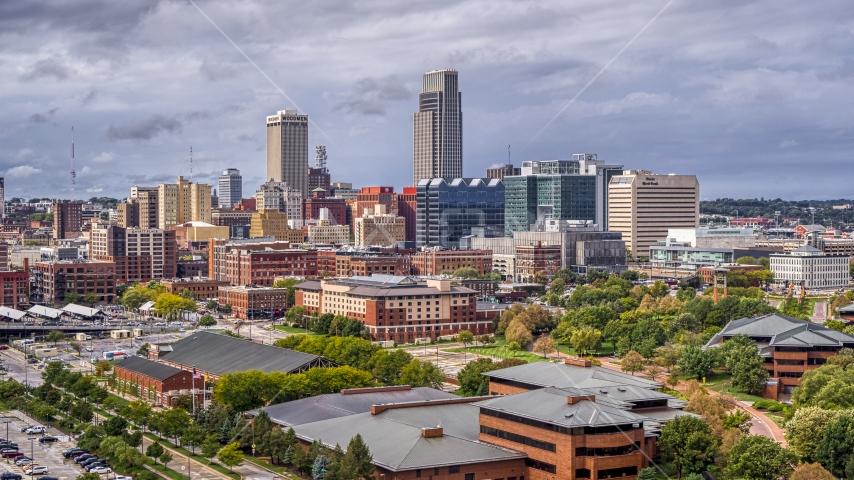 The city's skyline in Downtown Omaha, Nebraska Aerial Stock Photos | DXP002_168_0001