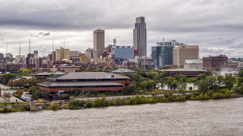 Riverfront park with view of skyline, Downtown Omaha, Nebraska Aerial Stock Photo DXP002_169_0007 | Axiom Images