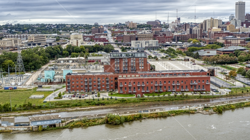 A riverfront apartment complex, Downtown Omaha, Nebraska Aerial Stock Photos | DXP002_169_0010
