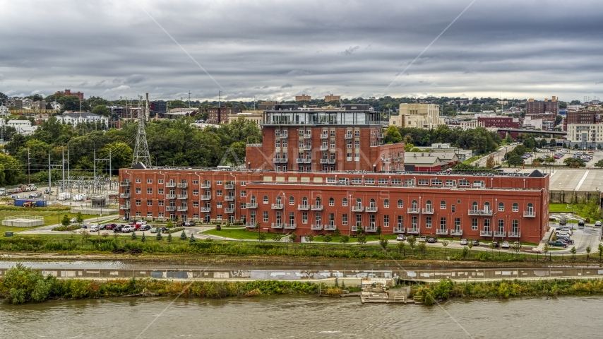 A view of a riverfront apartment complex, Downtown Omaha, Nebraska Aerial Stock Photos | DXP002_169_0011