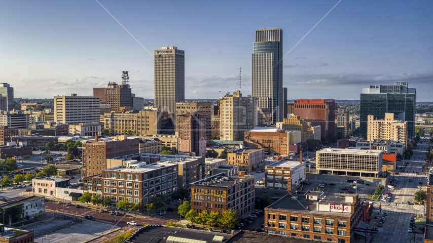 A view of the city's skyscrapers in Downtown Omaha, Nebraska Aerial Stock Photos | DXP002_170_0005