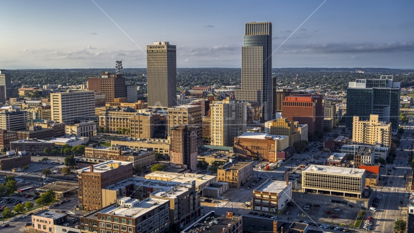 The city's skyscrapers in Downtown Omaha, Nebraska Aerial Stock Photos | DXP002_170_0006
