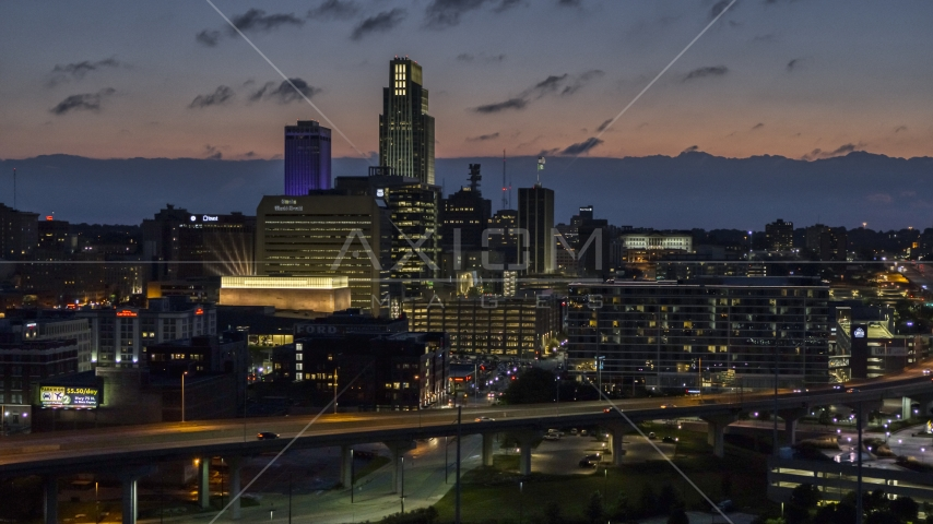 The city's skyline at twilight in Downtown Omaha, Nebraska Aerial Stock Photos | DXP002_173_0004