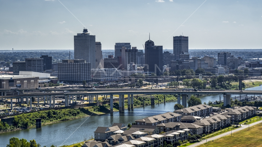 The city's skyline and bridge in Downtown Memphis, Tennessee Aerial Stock Photos | DXP002_177_0002
