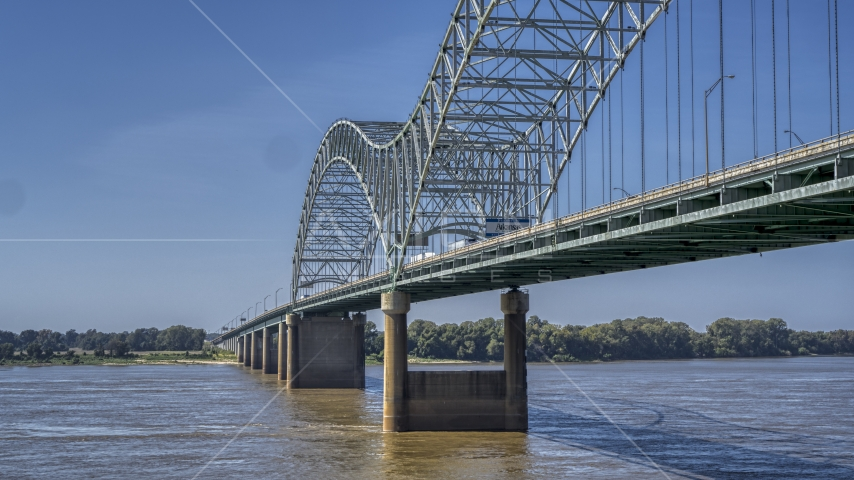 The bridge with a welcome sign, Memphis, Tennessee Aerial Stock Photos | DXP002_177_0006