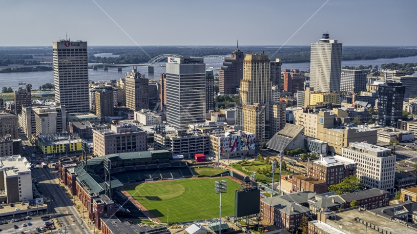 A view of tall office towers and a baseball stadium in Downtown Memphis, Tennessee Aerial Stock Photos | DXP002_179_0001